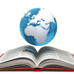 Education internet e-learning concept. Earth and open book isola