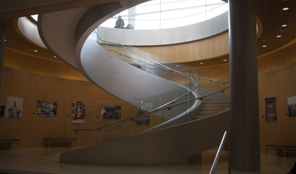 Spiral staircase in the JFSB